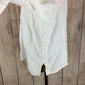 Kleen Tops - Kleen White Linen Embroidered Tunic Sz XL